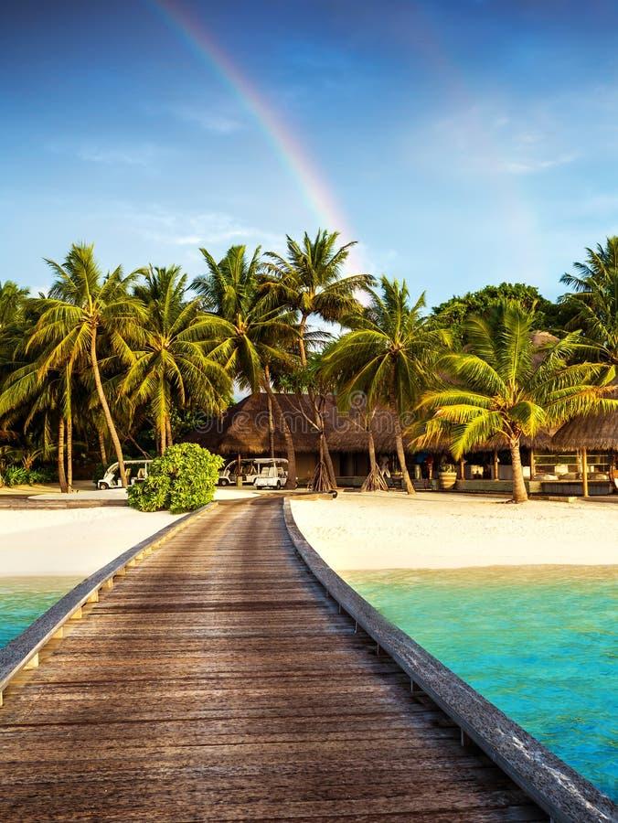 Wooden bridge to island beach resort. Beautiful colorful rainbow over fresh green palm trees, luxury hotel on Maldives island, summer vacation concept stock photo
