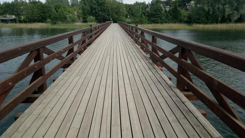Wooden bridge in Trakai stock photography