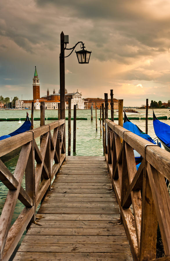 Download Wooden Bridge in Venice stock image. Image of santa, sunset - 25467639