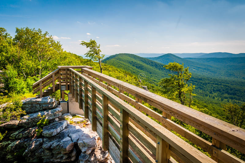 Wooden bridge and view of the Appalachian Mountains from Big Sch stock photography