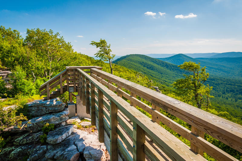 Wooden bridge and view of the Appalachian Mountains from Big Sch royalty free stock photo