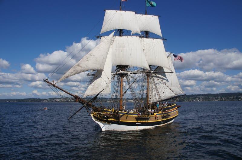 The wooden brig, Lady Washington, sails on Lake Washington royalty free stock photography