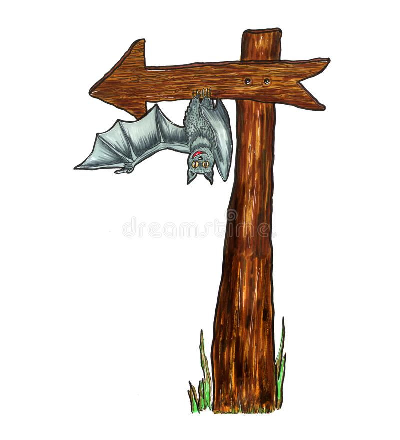 Wooden brown pointer arrow to the left with a funny gray bat isolated on white background. Drawn markers. For design, holyday, vector illustration