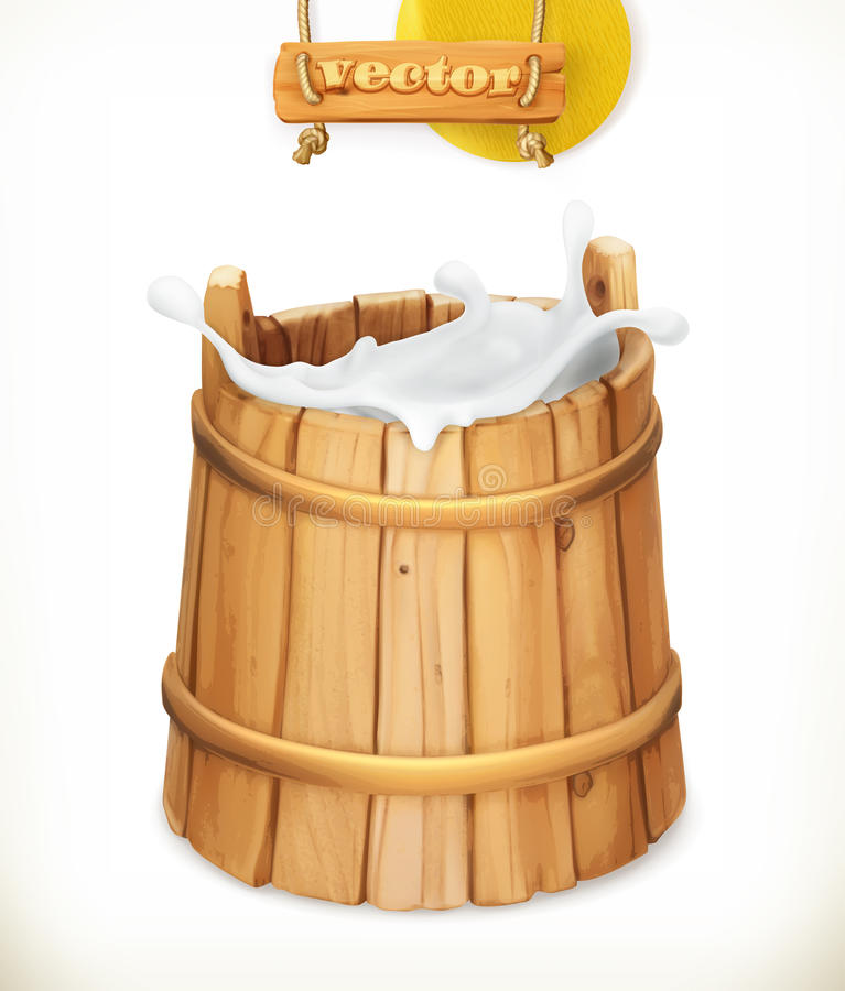 Wooden bucket. Milk. Natural dairy products. 3d vector icon royalty free illustration