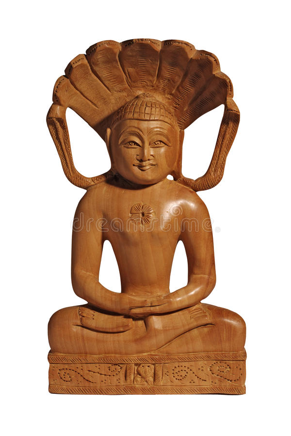 Free Wooden Buddha Statuette With Smile On White Stock Photos - 18221343