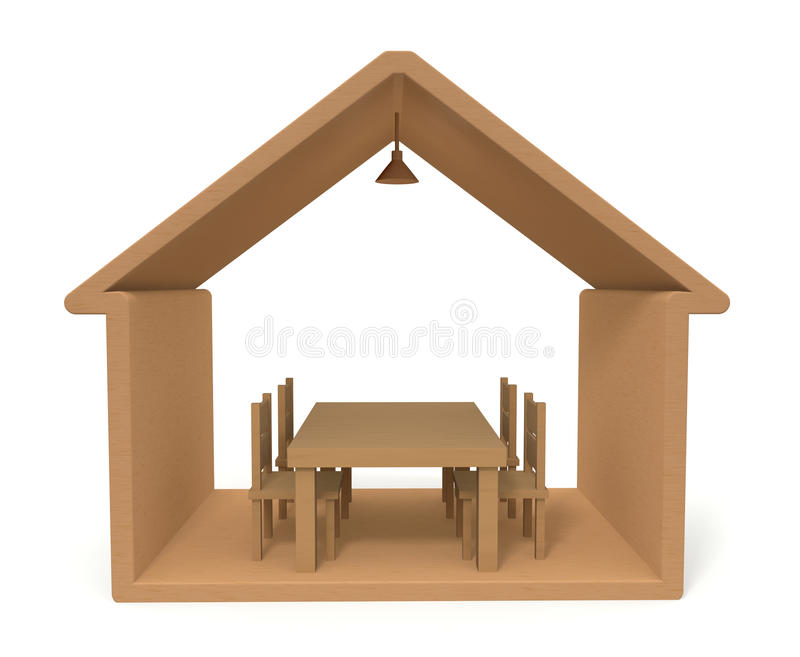 Wooden building. House made ​​of wood. The simple life. Happy living. House was built of wood. House a family of four royalty free illustration