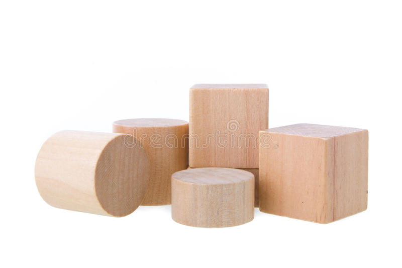 Wooden building blocks isolated on white background royalty free stock photos