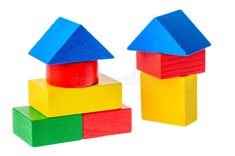 Wooden building blocks for kids isolated on white background.  royalty free stock images