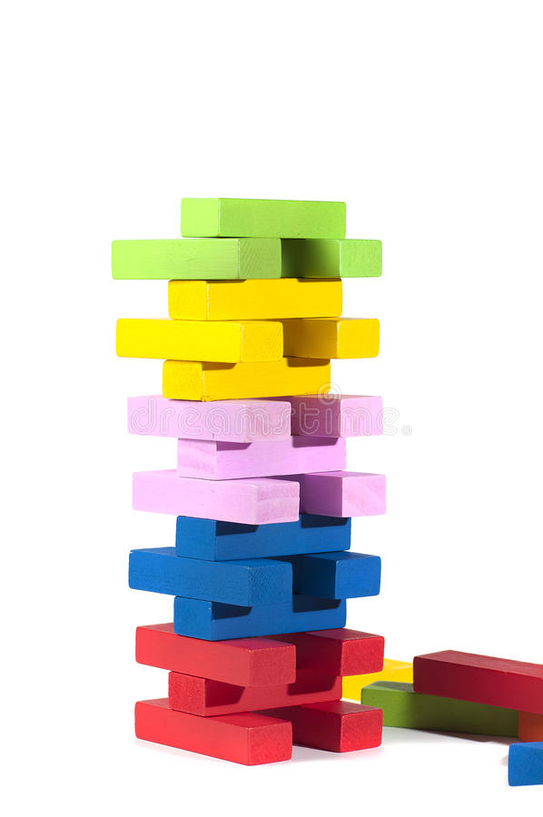 Download Wooden Building Blocks, In Many Colors, Isolated On White Stock Image - Image: 28952995