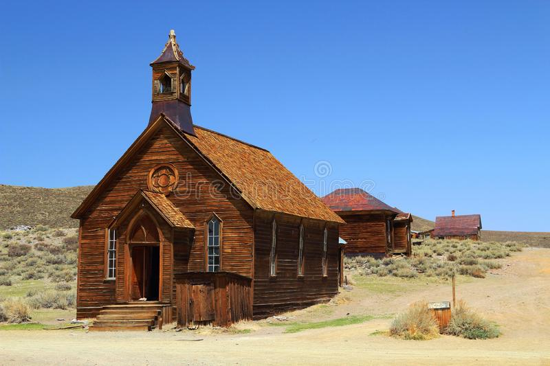 Methodist Church in Bodie State Historic Site in the Eastern Sierra Nevada, California, USA. The wooden buildings on the dusty side street of Bodie ghost town royalty free stock photos