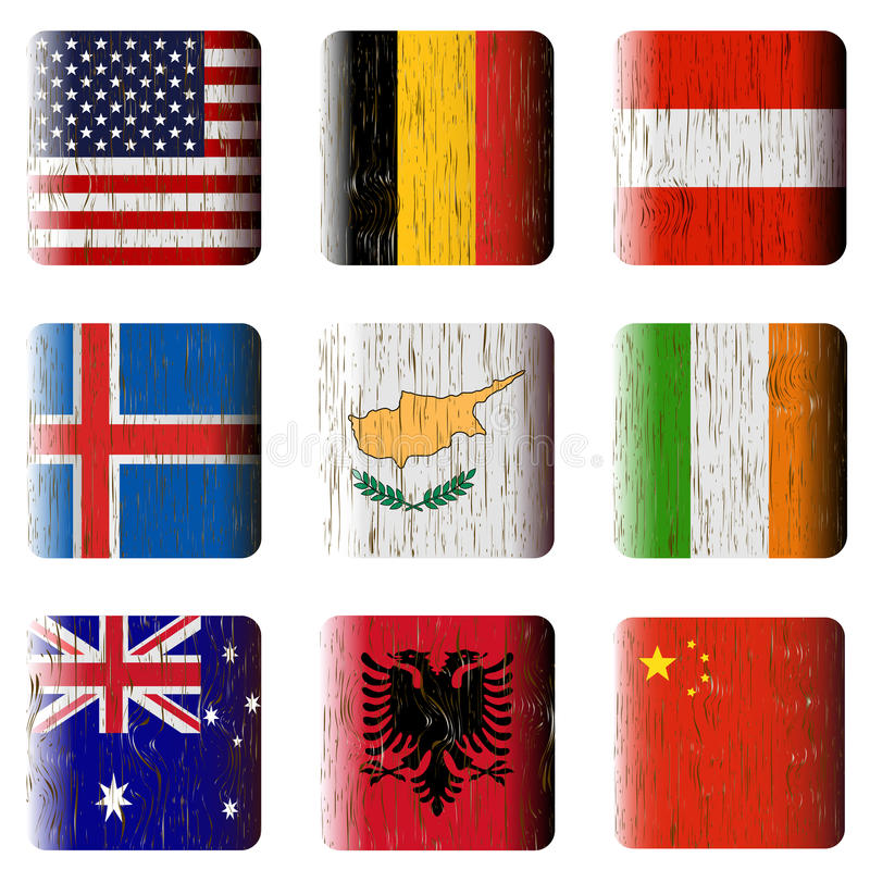 Wooden buttons, flags royalty free stock photography