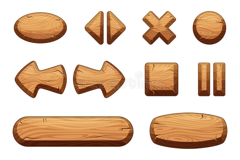 Wooden buttons set for game ui. Vector cartoon illustrations vector illustration