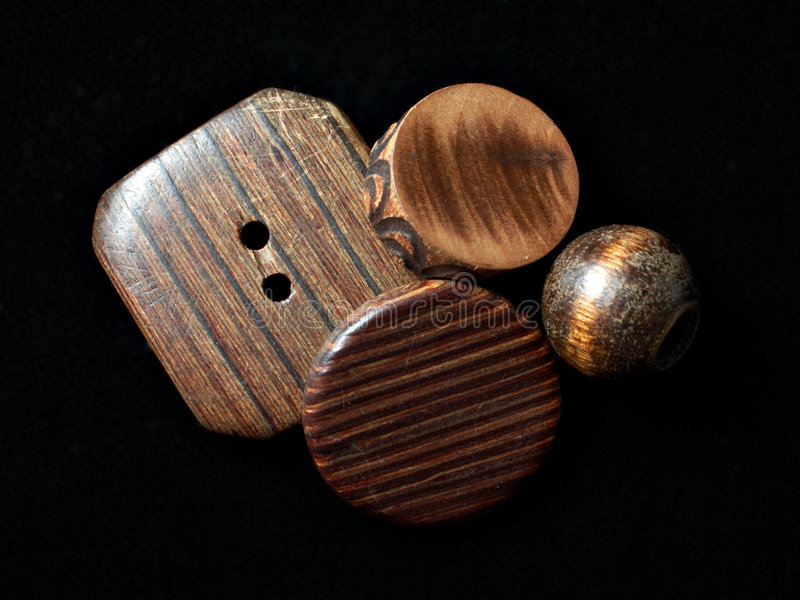 Wooden buttons stack stock images