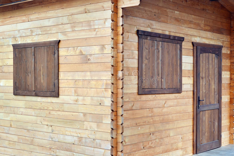 Download Wooden Cabin Timber Walls Joints On The Corner Window Shutters And Door Stock Image - & Wooden Cabin Timber Walls Joints On The Corner Window Shutters And ...