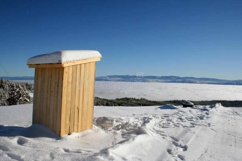 Wooden cabin at the top