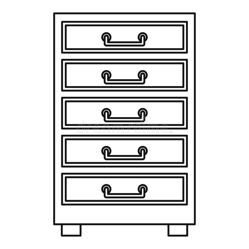 Wooden Cabinet With Drawers Icon Outline Stock Vector