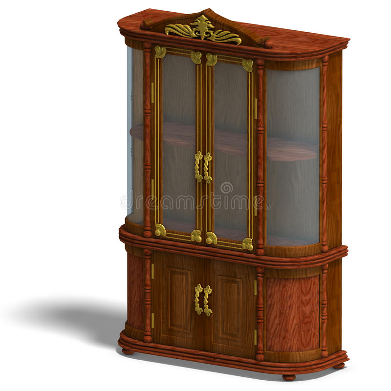 Download Wooden Cabinet With Glass Of Louis XV. Stock Illustration - Image: 11198351