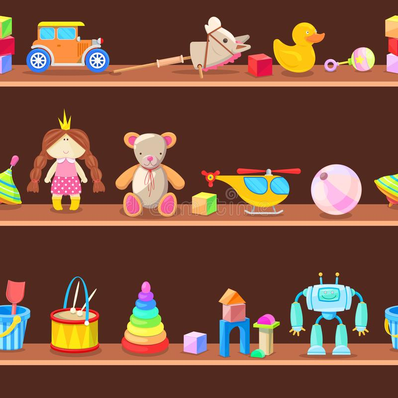 Wooden cabinet with kids toys on shelves. Seamless vector background stock illustration