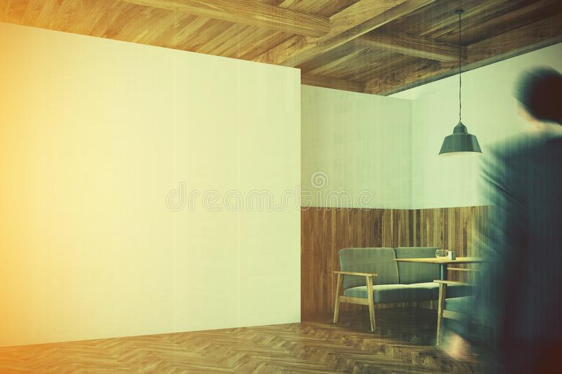 Wooden Cafe Interior, White Wall Corner Toned Stock Illustration ...