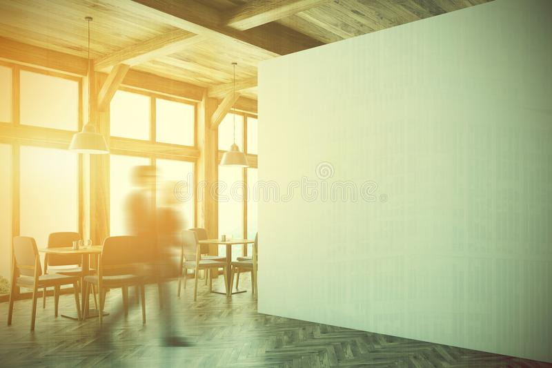 Wooden Cafe Interior, White Wall Side Toned Stock Illustration ...