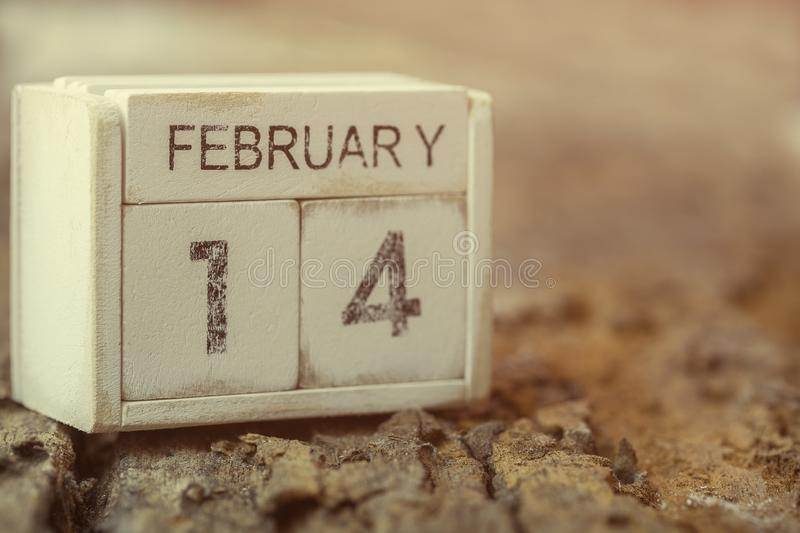 Wooden calendar show of February 14. Valentine`s Day, or St Valentine`s Day, is celebrated every year on 14 February royalty free stock photos