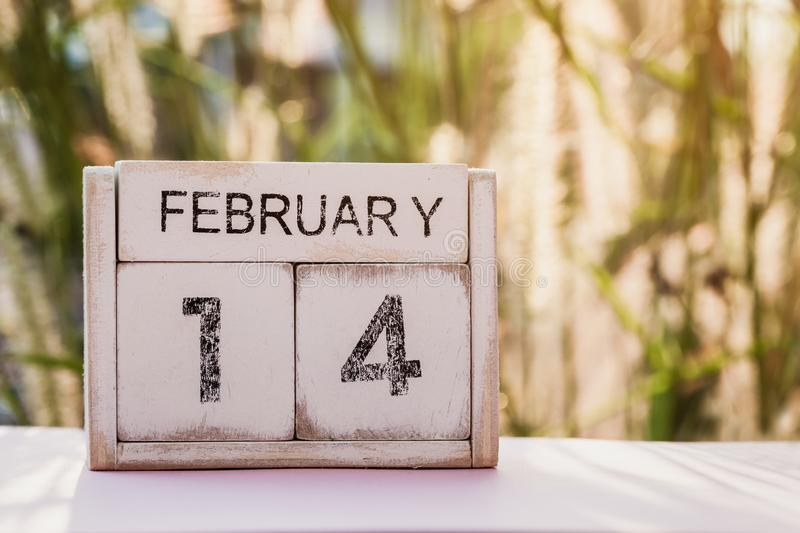 Wooden calendar show of February 14. Valentine`s Day, or St Valentine`s Day, is celebrated every year on 14 February royalty free stock photography
