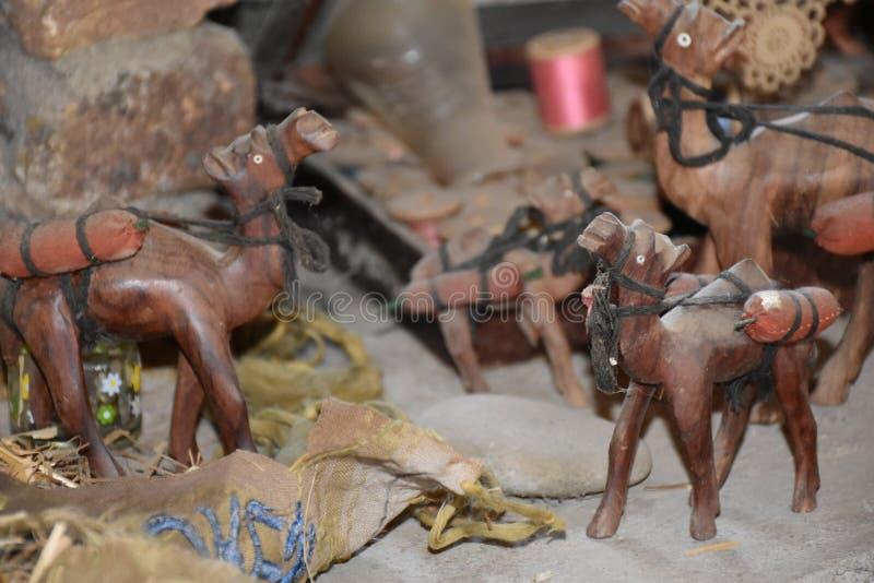 Wooden camel figurine stock photos