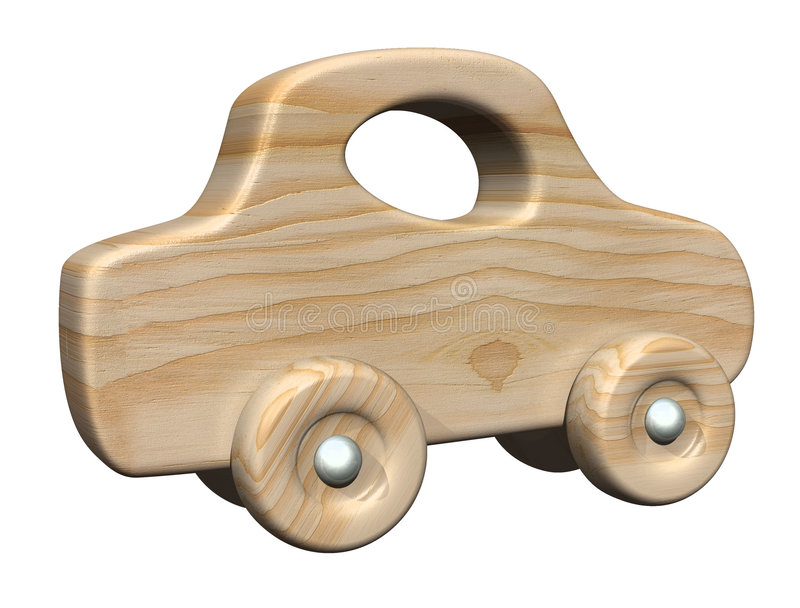 Wooden car. 3d generated hi res wooden toy car vector illustration