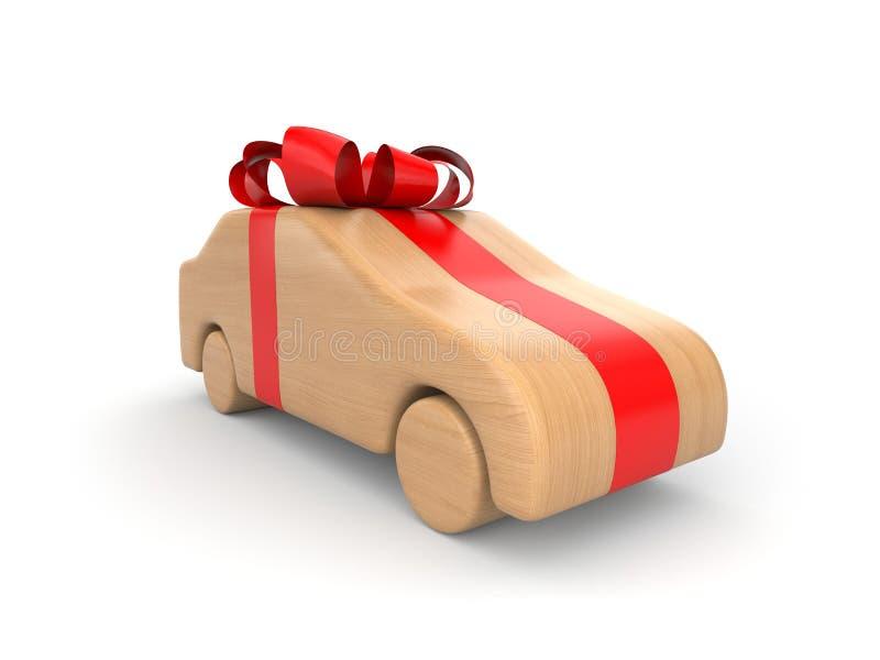 Wooden car as gift stock illustration