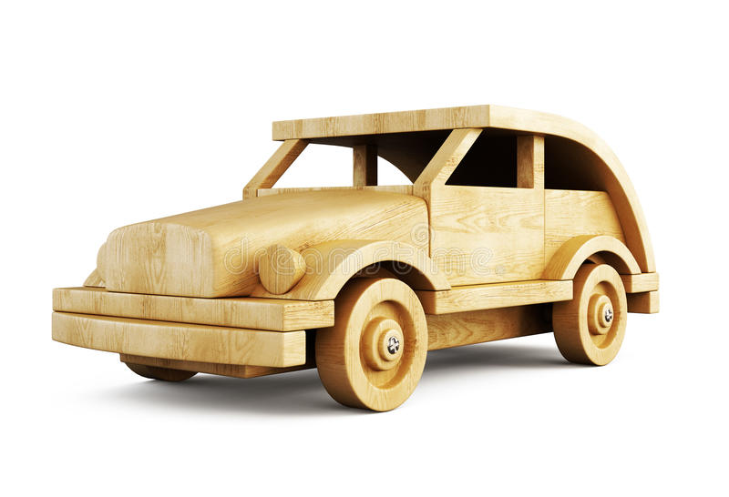 Wooden car close-up on white background. 3d. vector illustration