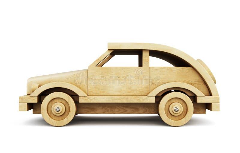 Wooden car side view. 3d. vector illustration