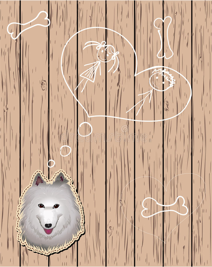Download Wooden Card With Devoted Dog Stock Vector - Image: 24573803