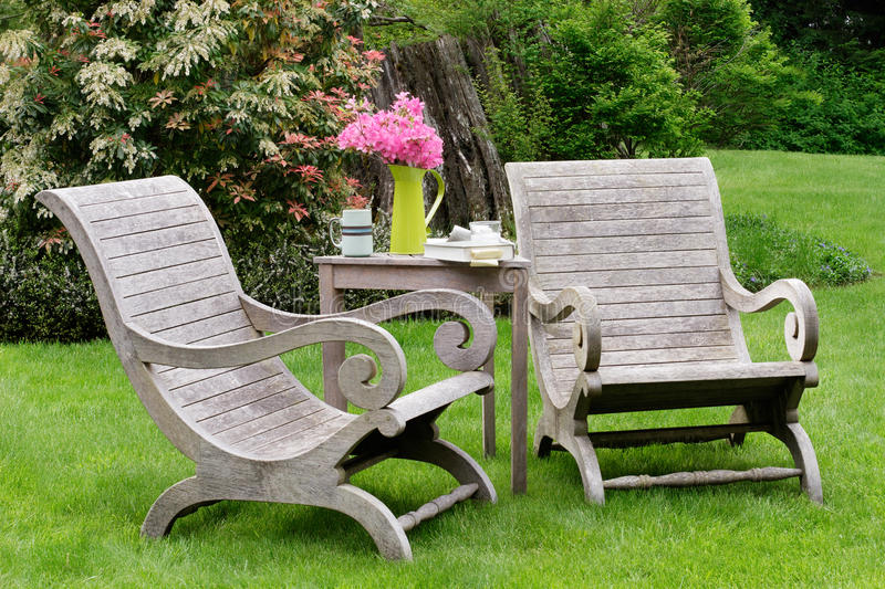Download Wooden carden chairs stock photo. Image of peaceful, drink - 20926032