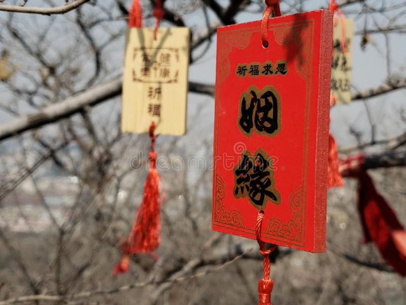 Wooden cards for prayers in Chinese temples. The wooden plaque with the word `marriage` was tied to the branches of the temple stock photo