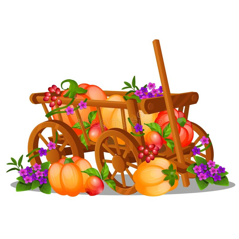 The wooden cart is filled with a harvest of ripe fruits and vegetables isolated on white background. Vector cartoon royalty free illustration