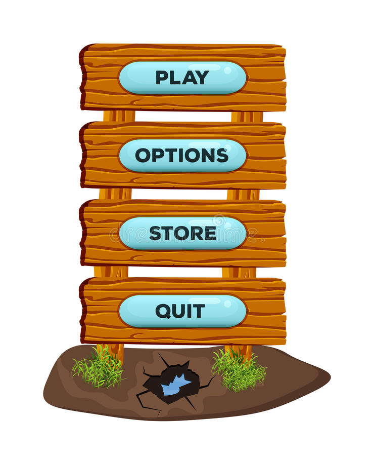 Wooden cartoon panels in the form of a road sign or banner online for game UI and browser applications with menu buttons. Vector royalty free illustration