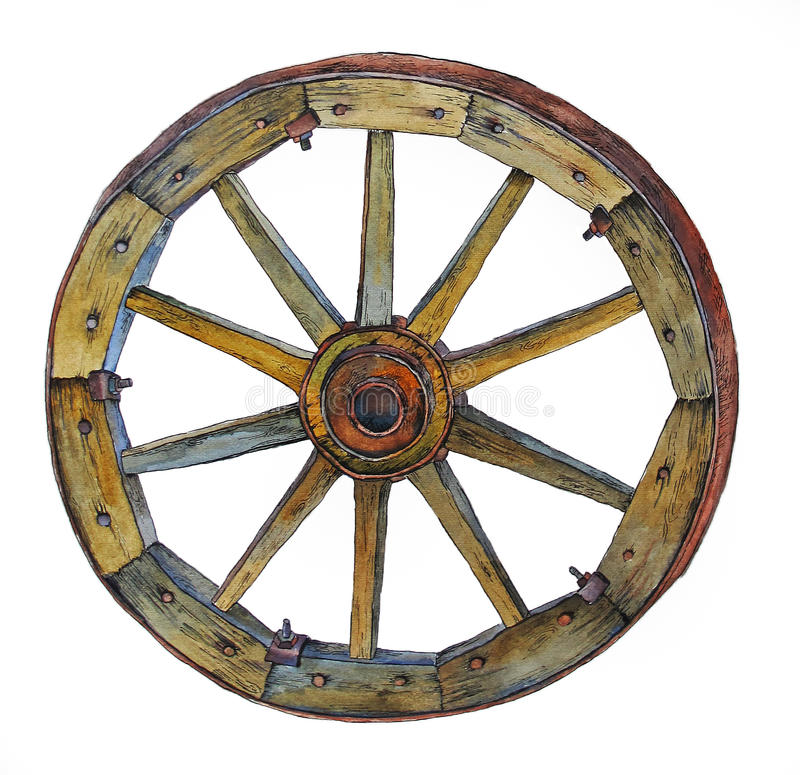Old wooden wheel of the cart on a white background royalty free stock photography