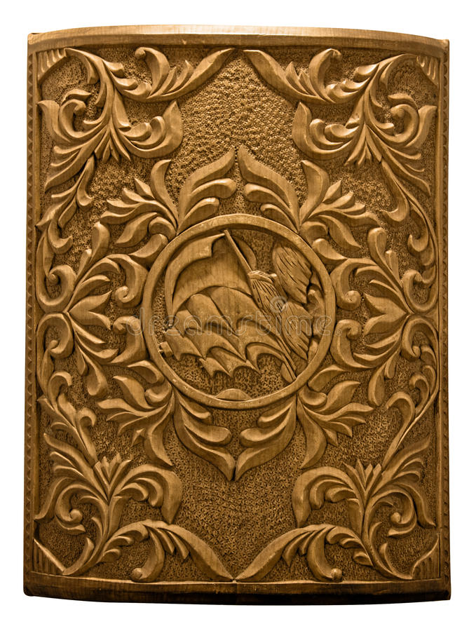 Wooden carved cover of chest royalty free stock photo