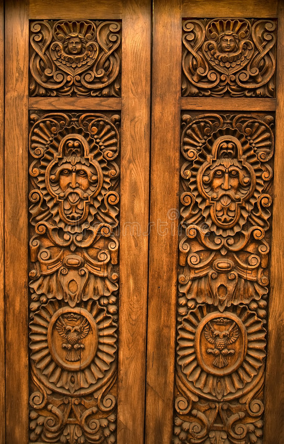 Wooden Carved Door Guadalajara Mexico stock photography