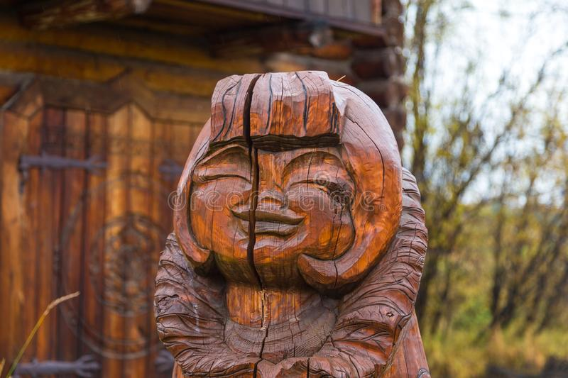 Wooden, carved figures at the exhibition, Esso, Kamchatka, Russia. royalty free stock image