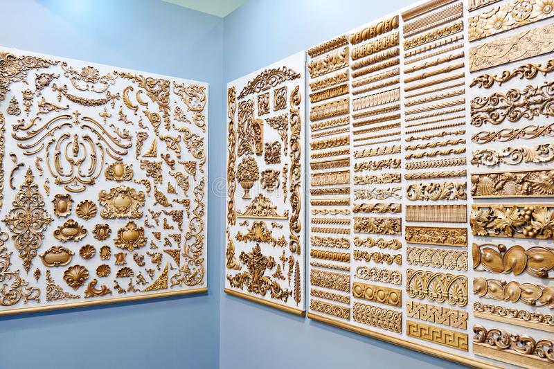 Wooden carved for interior decoration in store stock image