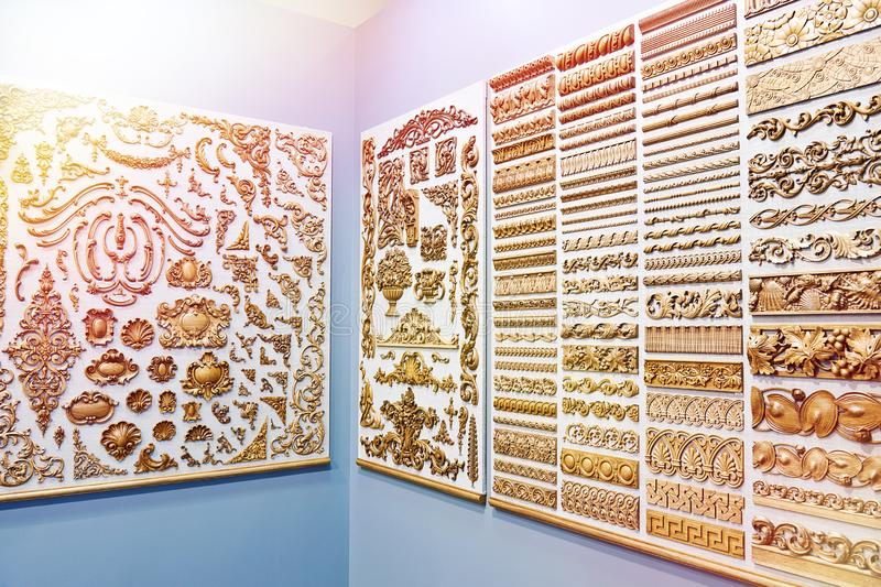 Wooden carved for interior decoration in store stock photos