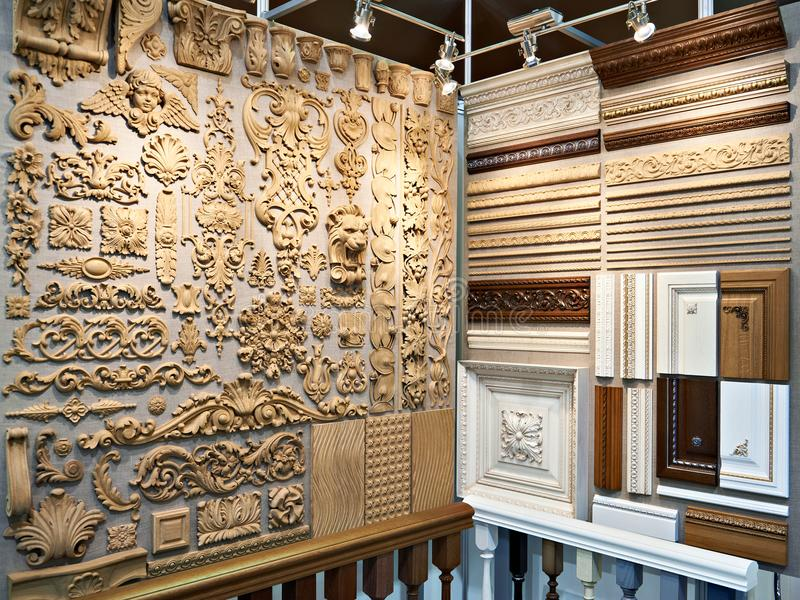 Wooden carved patterns for interior decoration royalty free stock photos