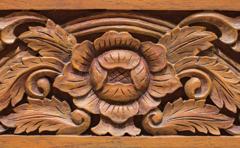 Wooden Carved Thai style stock photo