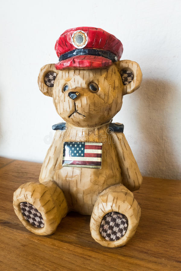 Wooden Carved US Soldier Bear royalty free stock photography