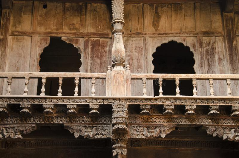 Wooden carving details, Palashikar Wada, Palashi, Parner, Maharasthra, India royalty free stock image