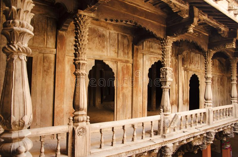 Wooden carving details, Palashikar Wada, Palashi, Parner, Maharasthra, India stock photography
