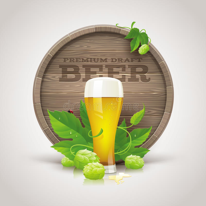 Free Wooden Cask, Beer Glass, Ripe Hops And Leaves Royalty Free Stock Photography - 31422797