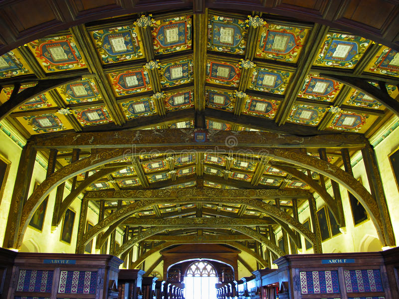 Wooden ceiling in Bodleian library royalty free stock photo