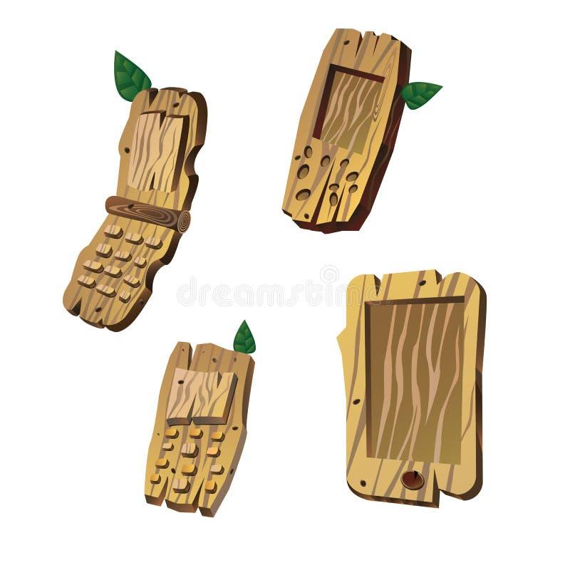 Wooden Cell Phone stock photos